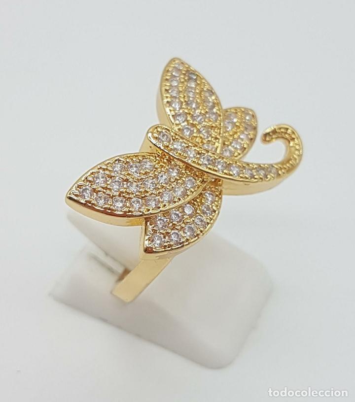 Joyeria: Anillo de lujo libelula con pavé de circonitas talla brillante engarzadas y chapado en oro de 18k - Foto 3 - 158820922