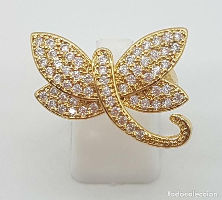 Joyeria: Anillo de lujo libelula con pavé de circonitas talla brillante engarzadas y chapado en oro de 18k - Foto 4 - 158820922