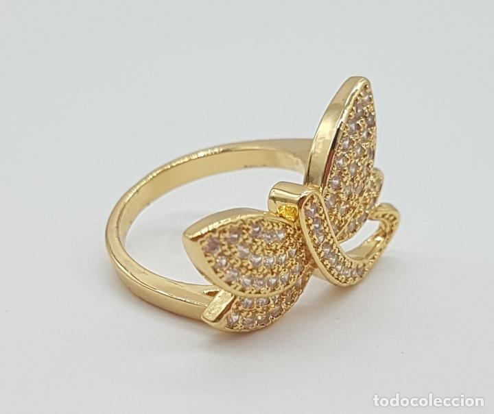 Joyeria: Anillo de lujo libelula con pavé de circonitas talla brillante engarzadas y chapado en oro de 18k - Foto 5 - 158820922