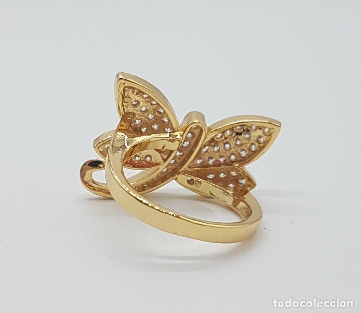 Joyeria: Anillo de lujo libelula con pavé de circonitas talla brillante engarzadas y chapado en oro de 18k - Foto 6 - 158820922