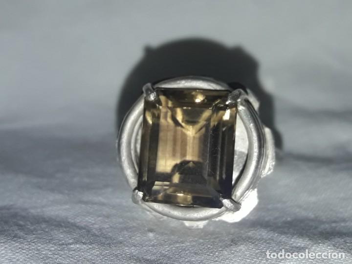 Joyeria: Precioso anillo plata 925 contrastada y gema de cuarzo ahumado talla esmeralda - Foto 2 - 158827118