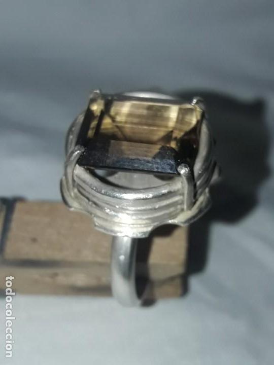 Joyeria: Precioso anillo plata 925 contrastada y gema de cuarzo ahumado talla esmeralda - Foto 3 - 158827118