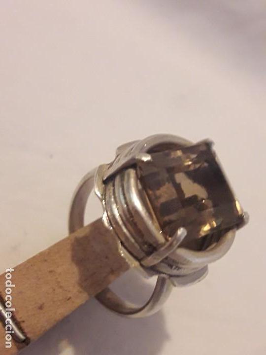 Joyeria: Precioso anillo plata 925 contrastada y gema de cuarzo ahumado talla esmeralda - Foto 4 - 158827118