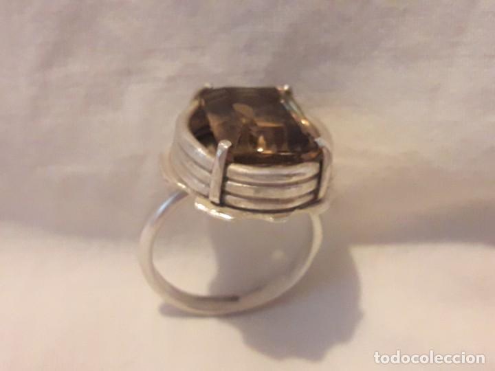 Joyeria: Precioso anillo plata 925 contrastada y gema de cuarzo ahumado talla esmeralda - Foto 8 - 158827118