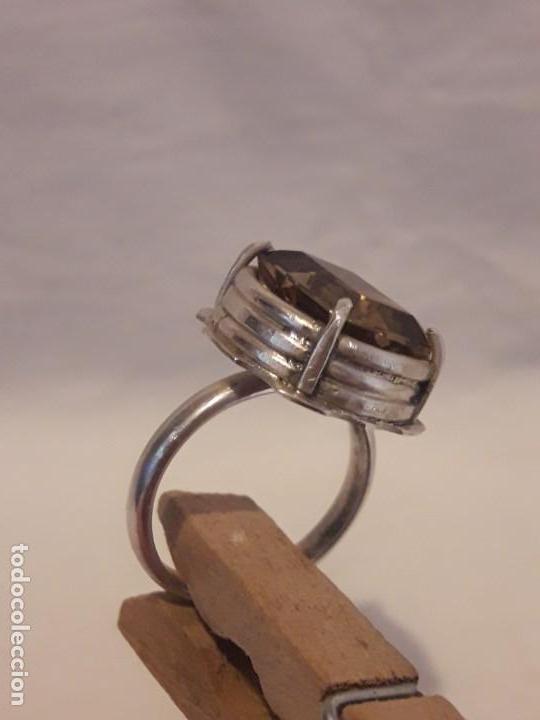 Joyeria: Precioso anillo plata 925 contrastada y gema de cuarzo ahumado talla esmeralda - Foto 11 - 158827118