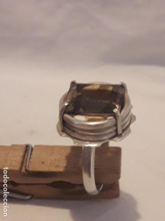 Joyeria: Precioso anillo plata 925 contrastada y gema de cuarzo ahumado talla esmeralda - Foto 13 - 158827118