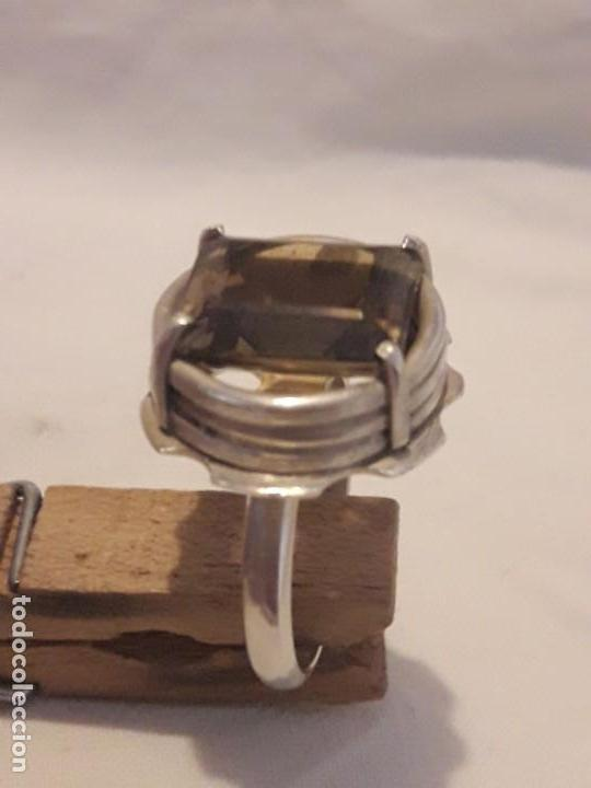 Joyeria: Precioso anillo plata 925 contrastada y gema de cuarzo ahumado talla esmeralda - Foto 14 - 158827118