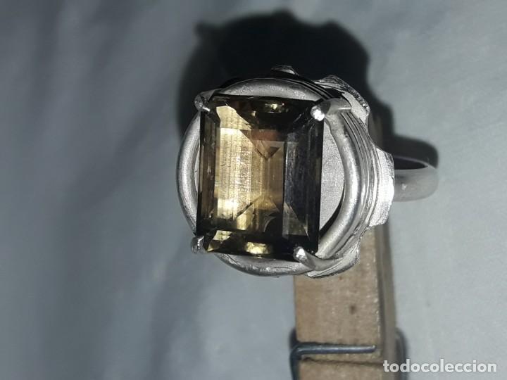Joyeria: Precioso anillo plata 925 contrastada y gema de cuarzo ahumado talla esmeralda - Foto 9 - 158827118