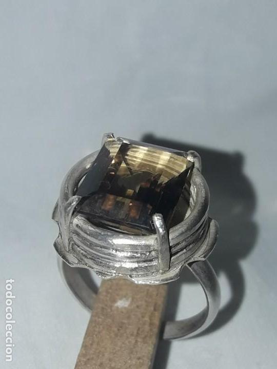 Joyeria: Precioso anillo plata 925 contrastada y gema de cuarzo ahumado talla esmeralda - Foto 15 - 158827118