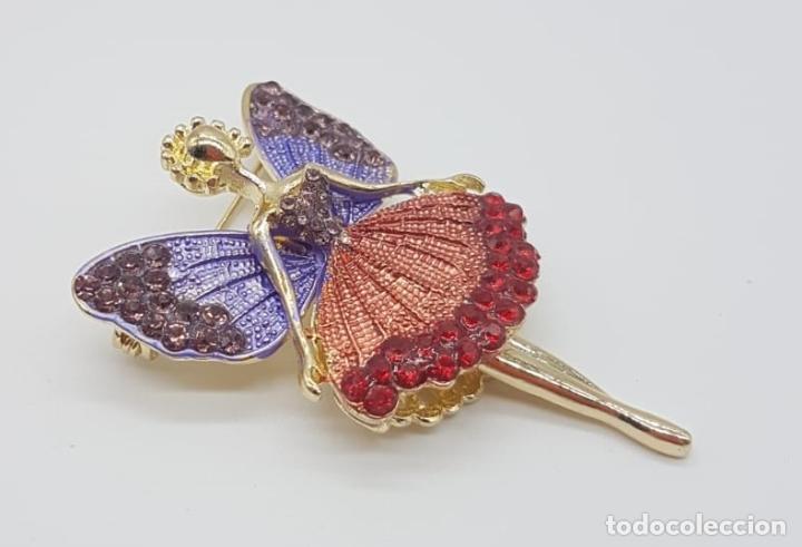 Joyeria: Precioso broche de hada articulada con acabado en oro, esmaltes y pedrería . - Foto 2 - 172658160