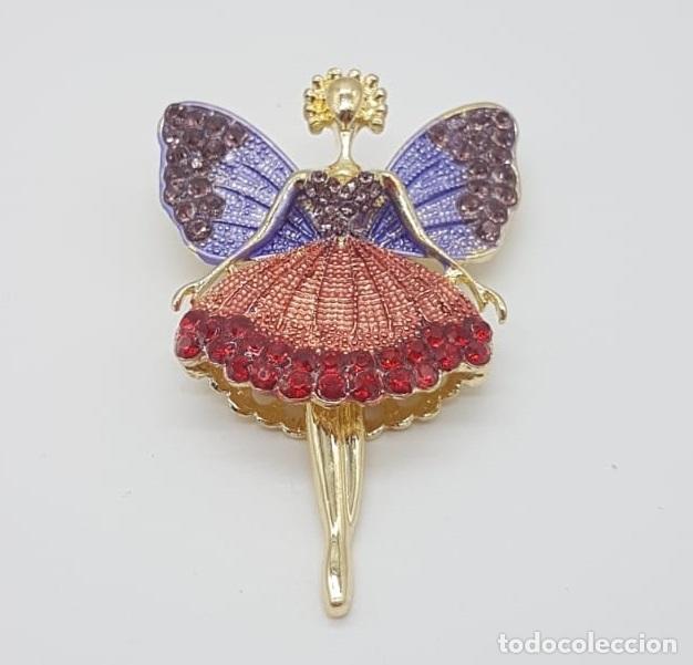 Joyeria: Precioso broche de hada articulada con acabado en oro, esmaltes y pedrería . - Foto 3 - 172658160