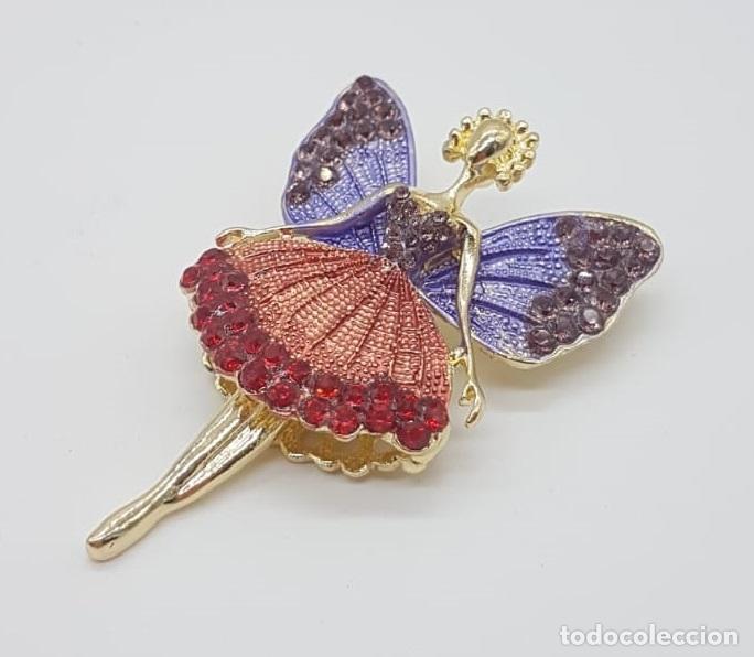 Joyeria: Precioso broche de hada articulada con acabado en oro, esmaltes y pedrería . - Foto 4 - 172658160