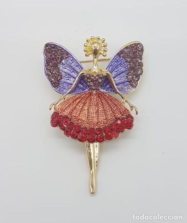 Joyeria: Precioso broche de hada articulada con acabado en oro, esmaltes y pedrería . - Foto 6 - 172658160
