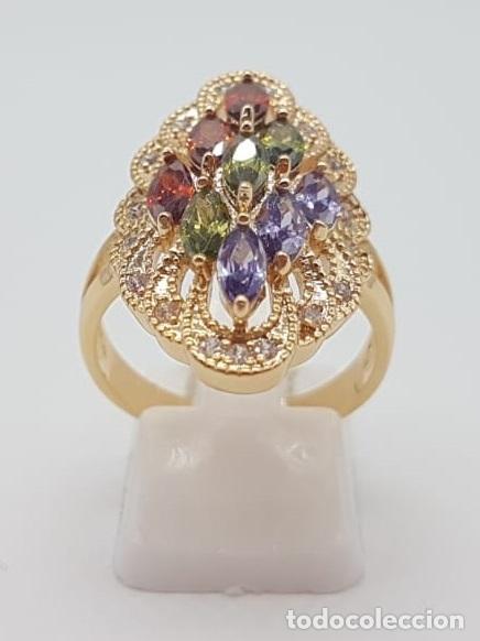 Joyeria: Magnífico anillo tipo lanzadera de lujo con acabado en oro, circonitas y pedrería talla marqués . - Foto 3 - 158832074