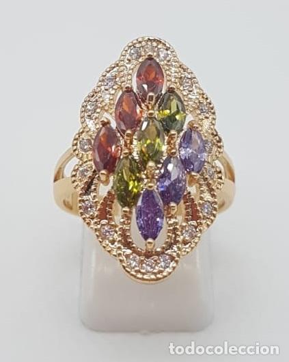 Joyeria: Magnífico anillo tipo lanzadera de lujo con acabado en oro, circonitas y pedrería talla marqués . - Foto 5 - 158832074