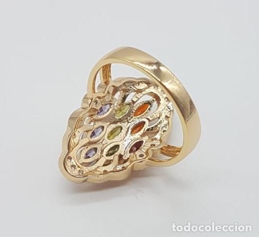 Joyeria: Magnífico anillo tipo lanzadera de lujo con acabado en oro, circonitas y pedrería talla marqués . - Foto 7 - 158832074