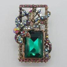 Jewelry - Magnífico broche de estilo Victoriano con acabado en oro viejo, pedrería y cristal austriaco . - 158833194