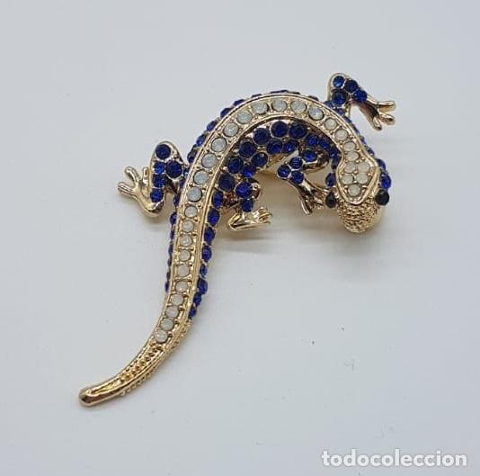 Joyeria: Original broche de estilo art decó con acabado en oro, y pavé de cristal austriaco talla brillante . - Foto 2 - 158835734