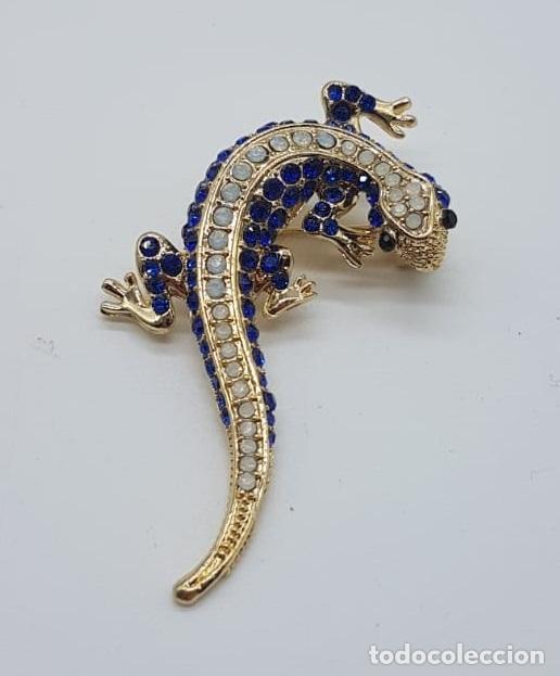 Joyeria: Original broche de estilo art decó con acabado en oro, y pavé de cristal austriaco talla brillante . - Foto 5 - 158835734