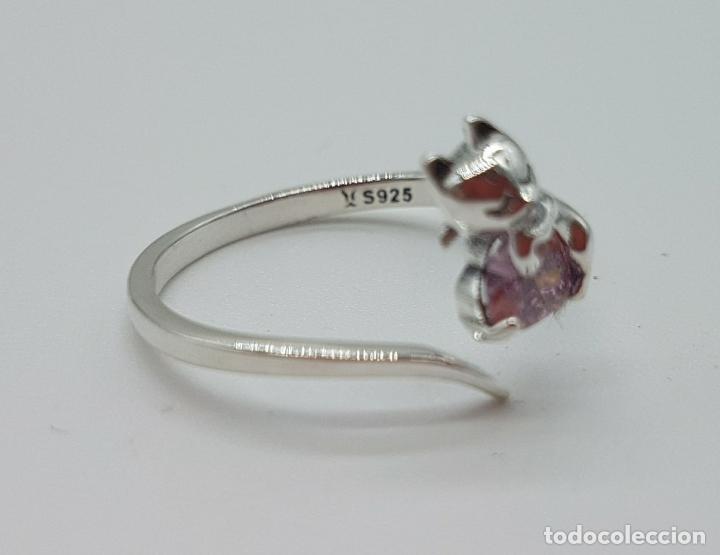 Joyeria: Original sortija de plata de ley contrastada con gato sujetando circonita color rosa talla corazón . - Foto 7 - 158837138