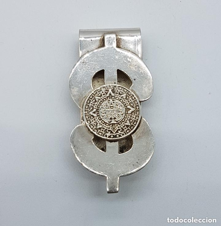 Joyeria: Lujosa pinza antigua billetera en plata de ley contrastada con calendario azteco y símbolo del dólar - Foto 4 - 159012642