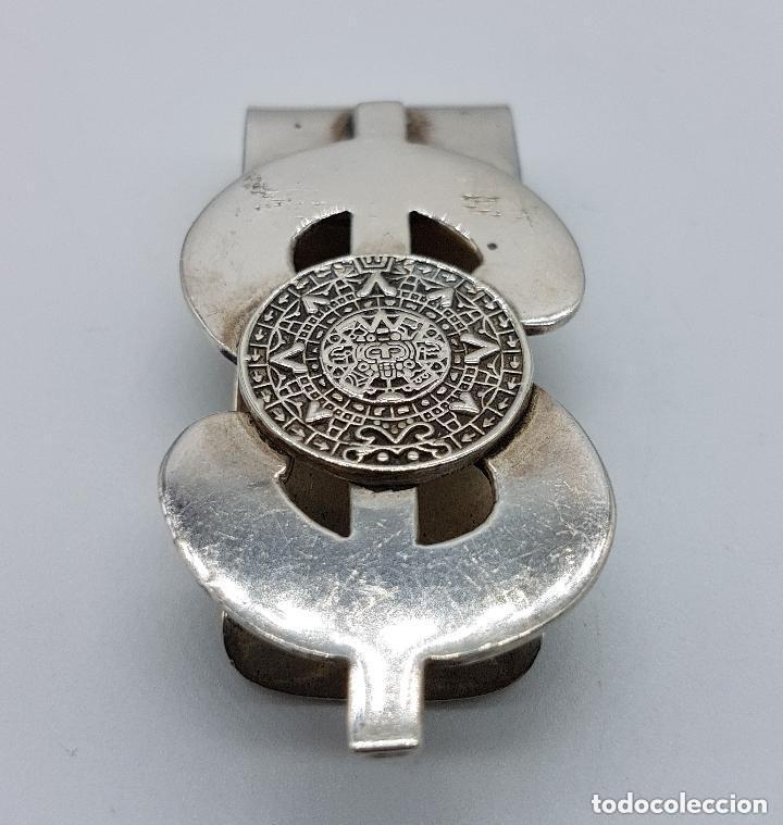 Joyeria: Lujosa pinza antigua billetera en plata de ley contrastada con calendario azteco y símbolo del dólar - Foto 5 - 159012642