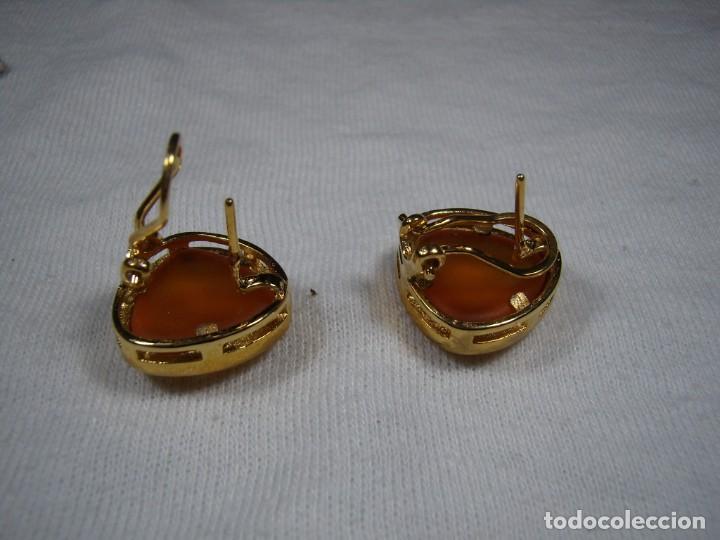 Joyeria: Pendientes chapado oro, 18 Kt, años 80, cierre omega, fabricado en España, Nuevo sin usar. - Foto 2 - 159098826