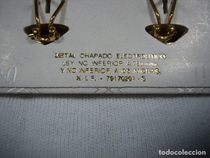 Joyeria: Pendientes chapado oro, 18 Kt, años 80, cierre omega, fabricado en España, Nuevo sin usar. - Foto 3 - 159098826