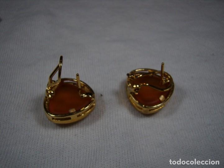 Joyeria: Pendientes chapado oro, 18 Kt, años 80, cierre omega, fabricado en España, Nuevo sin usar. - Foto 4 - 159098826