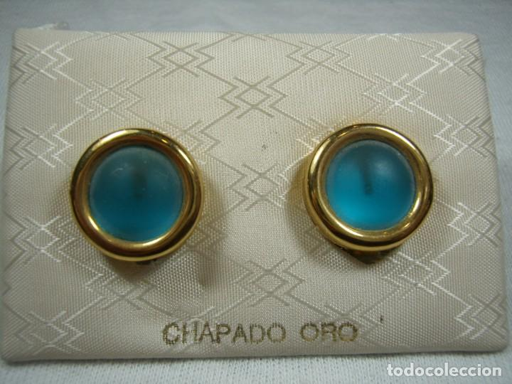 PENDIENTES CHAPADO ORO, 18 KT, FABRICADO EN ESPAÑA, AÑOS 80, CIERRE OMEGA, NUEVO SIN USAR. (Joyería - Pendientes Antiguos)