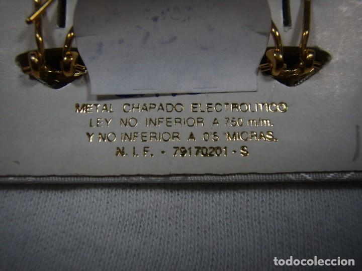 Joyeria: Pendientes chapado oro, 18 Kt, fabricado en España, años 80, cierre omega, Nuevo sin usar. - Foto 2 - 159100038