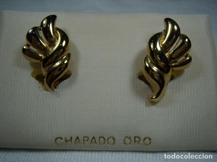 PENDIENTES CHAPADO ORO, 18 KT, AÑOS 80, CIERRE CATALÁN, NUEVO SIN USAR. (Joyería - Pendientes Antiguos)