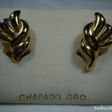 Joyeria: PENDIENTES CHAPADO ORO, 18 KT, AÑOS 80, CIERRE CATALÁN, NUEVO SIN USAR.. Lote 159103006
