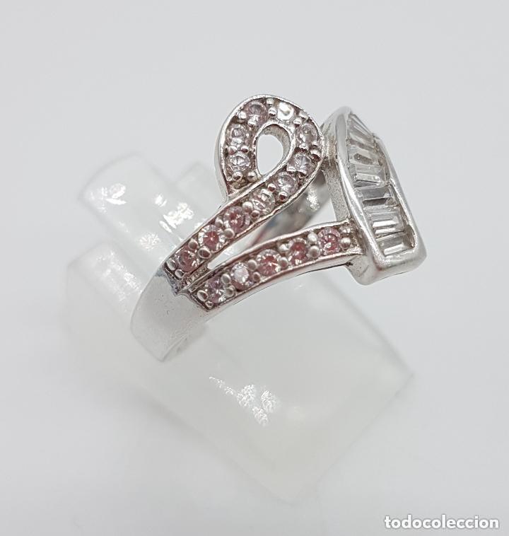 Joyeria: Magnífico anillo antiguo en plata de ley contrastada con circonitas talla brillante y baguette. - Foto 2 - 159182078