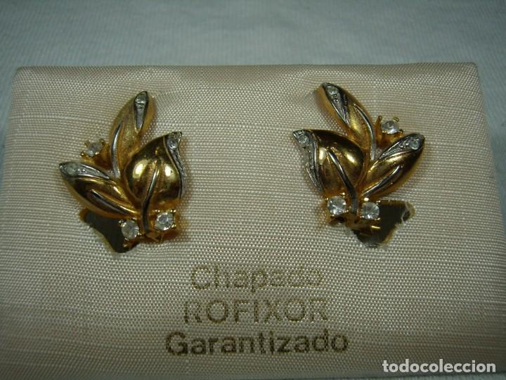 Joyeria: Pendientes chapado oro, 18 Kt, circonios,de Rofixor, años 80, cierre omega, Nuevo sin usar. - Foto 2 - 159202530
