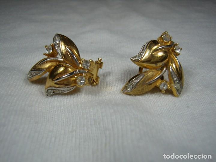 Joyeria: Pendientes chapado oro, 18 Kt, circonios,de Rofixor, años 80, cierre omega, Nuevo sin usar. - Foto 5 - 159202530