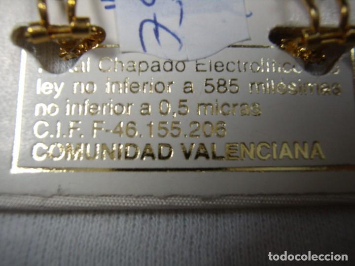Joyeria: Pendientes chapado oro, 18 Kt, circonios,de Rofixor, años 80, cierre omega, Nuevo sin usar. - Foto 6 - 159202530