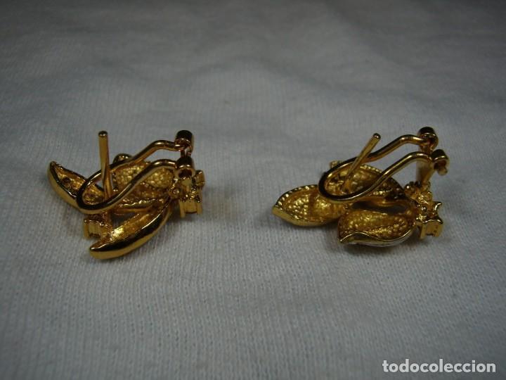 Joyeria: Pendientes chapado oro, 18 Kt, circonios,de Rofixor, años 80, cierre omega, Nuevo sin usar. - Foto 7 - 159202530