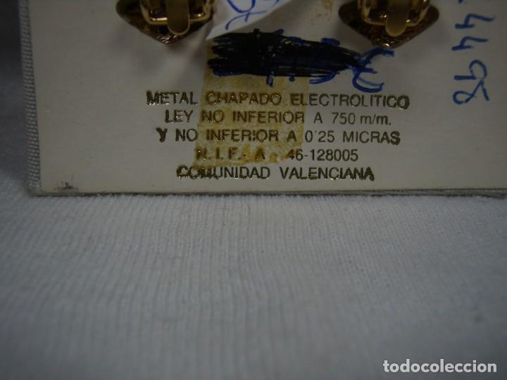 Joyeria: Pendientes chapado oro, 18 Kt,circonios,piedra blanca,Valencia,años 80,cierre omega, Nuevo sin usar. - Foto 4 - 159203538