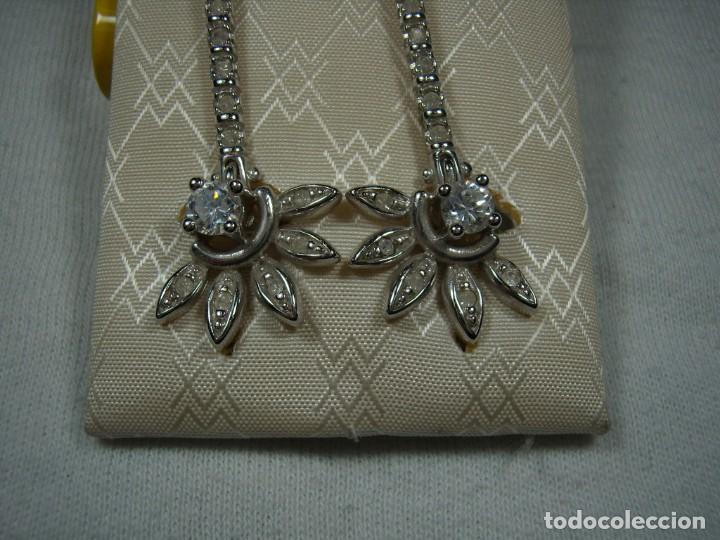 Joyeria: Pendientes chapado oro, 18 Kt, circonios, perla, rodiado, años 80, cierre omega, Nuevo sin usar. - Foto 6 - 159205286