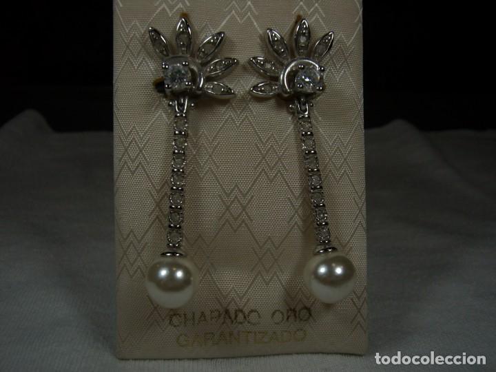 Joyeria: Pendientes chapado oro, 18 Kt, circonios, perla, rodiado, años 80, cierre omega, Nuevo sin usar. - Foto 7 - 159205286
