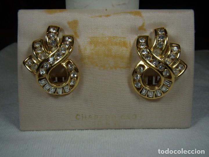 Joyeria: Pendientes chapado oro, 18 Kt, circonios, piedras blancas , años 80, cierre omega, Nuevo sin usar. - Foto 4 - 159258746