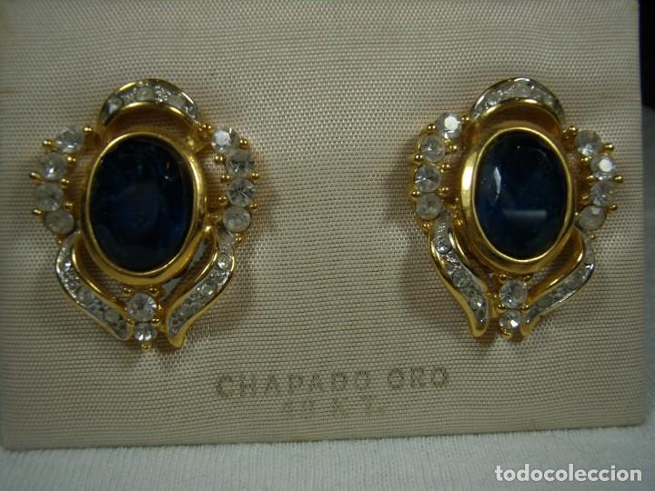 Joyeria: Pendientes chapado oro, 18 Kt, circonios, piedra azul, años 80, cierre omega, Nuevo sin usar. - Foto 5 - 159260922