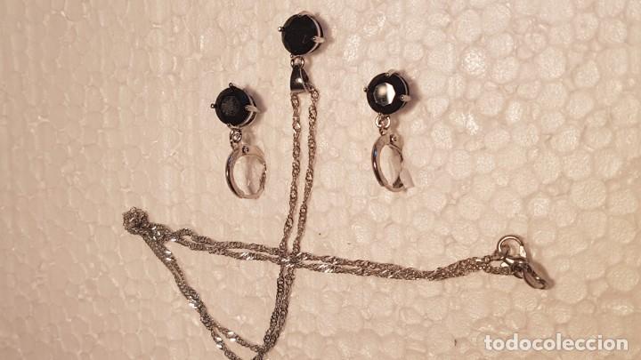 Joyeria: Conjunto en plata 925 formado por colgante, cadena y pendientes con piedras talla diamante - Foto 4 - 159341426
