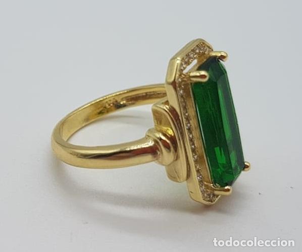 Joyeria: Elegante anillo de lujo tipo marquesa con acabado en oro de 18k, circonitas y esmeralda creada . - Foto 8 - 158294150