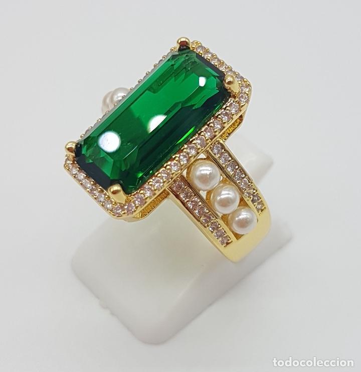 Joyeria: Elegante anillo tipo art decó chapado en oro de 18k contraste, circonitas, perlas y esmeralda creada - Foto 3 - 159792666