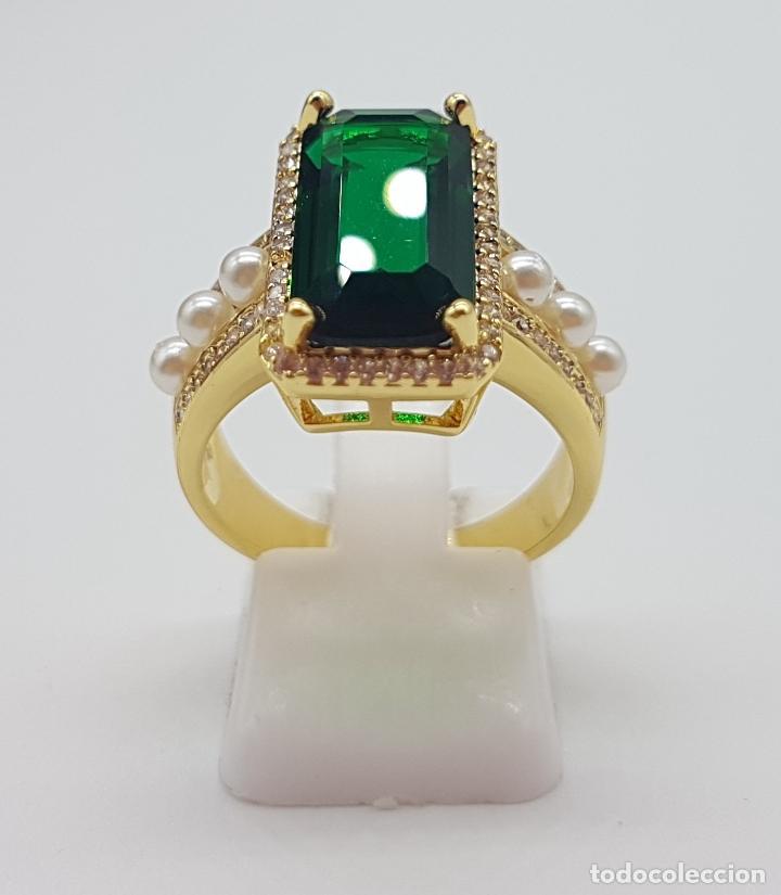 Joyeria: Elegante anillo tipo art decó chapado en oro de 18k contraste, circonitas, perlas y esmeralda creada - Foto 4 - 159792666