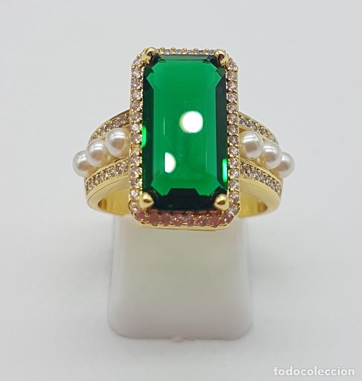 Joyeria: Elegante anillo tipo art decó chapado en oro de 18k contraste, circonitas, perlas y esmeralda creada - Foto 5 - 159792666