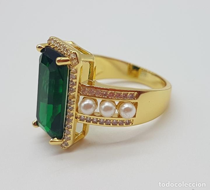 Joyeria: Elegante anillo tipo art decó chapado en oro de 18k contraste, circonitas, perlas y esmeralda creada - Foto 6 - 159792666