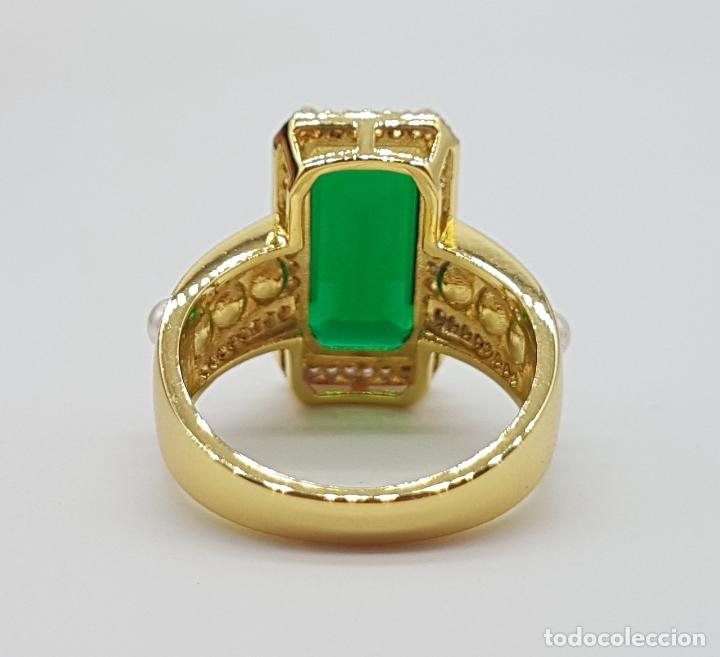 Joyeria: Elegante anillo tipo art decó chapado en oro de 18k contraste, circonitas, perlas y esmeralda creada - Foto 7 - 159792666